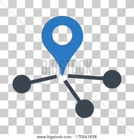 Geo Network icon. Vector illustration style is flat iconic bicolor symbol smooth blue colors transparent background. Designed for web and software interfaces.