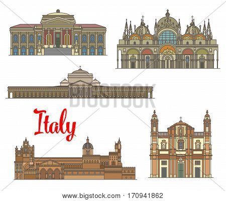 Italian travel landmarks of arts and religion. Linear Basilica of San Francesco di Paola, Massimo Theater, Church of San Domenico, Saint Mark Basilica, Palermo Cathedral icon set for travel design