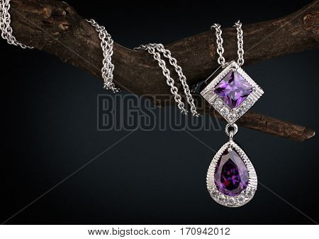 Jewelry pendant witht gem amethyst on twig black background