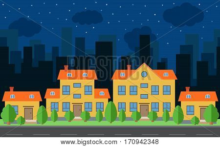 Vector night city with cartoon houses and buildings with green trees and shrubs. City space with road on flat style background concept. Summer urban landscape. Street view with cityscape on a background