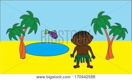 Little black boy in an oasis in the desert.