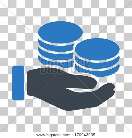 Salary Hand icon. Vector illustration style is flat iconic bicolor symbol smooth blue colors transparent background. Designed for web and software interfaces.