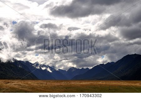 Landscape in the Southern Alps, New Zealand