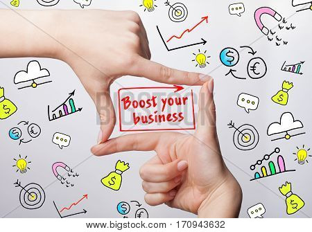 Technology, Internet, Business And Marketing. Young Business Woman Writing Word: Boost Your Business