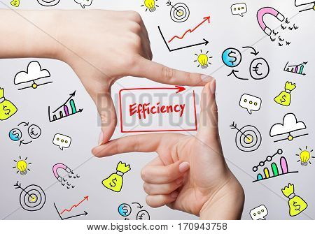 Technology, Internet, Business And Marketing. Young Business Woman Writing Word: Efficiency