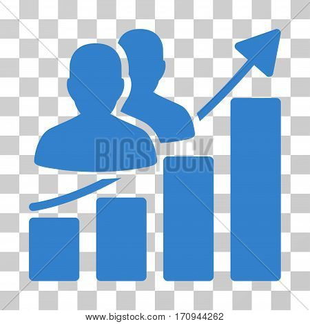 Audience Growth Bar Chart icon. Vector illustration style is flat iconic symbol cobalt color transparent background. Designed for web and software interfaces.