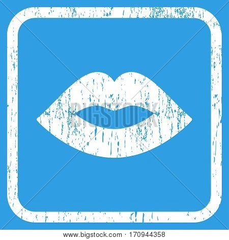 Lips rubber watermark. Vector pictogram symbol inside rounded rectangular frame with grunge design and unclean texture. Stamp seal illustration. Unclean white ink sign on a blue background.