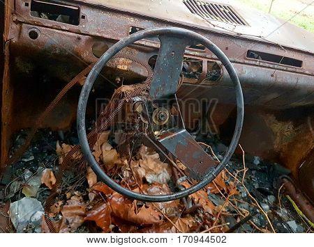 Car Burned, Abandoned And Rusty