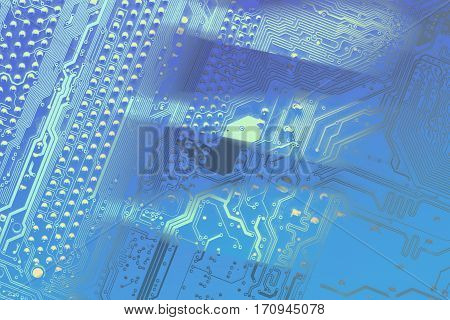 Circuit board. Electronic computer hardware technology. Motherboard digital chip. Tech science background. Information engineering component background with color transitions.