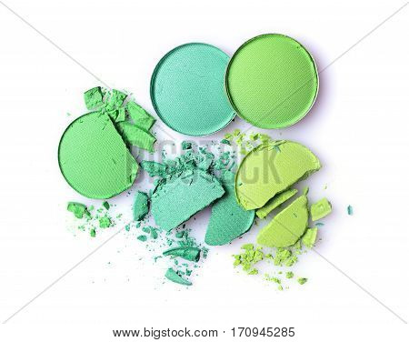 Round Green Crashed Eyeshadow For Makeup As Sample Of Cosmetic Product