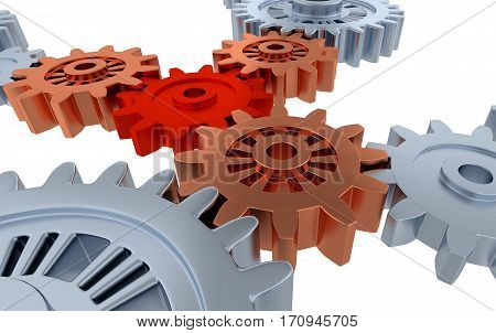 3D illustration of Above Some Silver Gears and One Small Red Gear with a white background