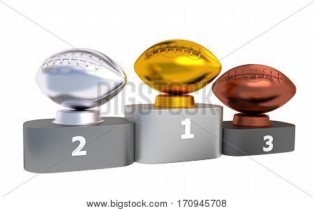 3D illustration of American Football Podium with Gold Silver and Bronze Trophy with white background