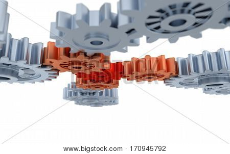 3D illustration of Under Blurred Silver Gears Orange and Red Gears with a white background