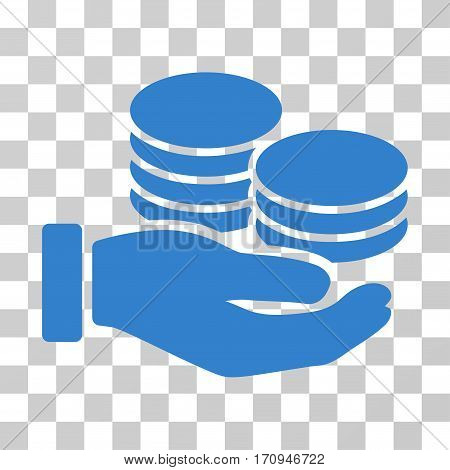 Salary Hand icon. Vector illustration style is flat iconic symbol cobalt color transparent background. Designed for web and software interfaces.