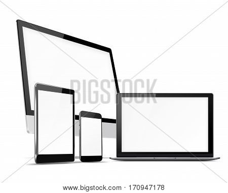 Computer monitor, mobile phone, laptop and tablet pc with blank screen isolated on white background. 3D illustration.