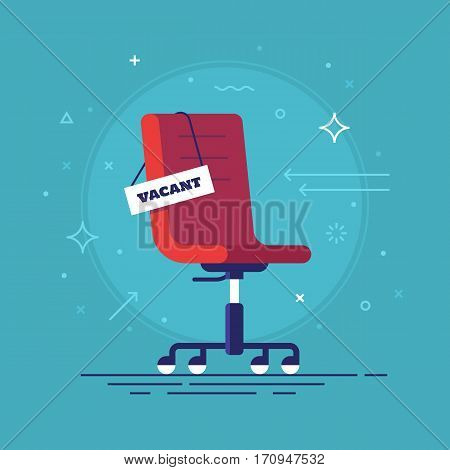 Composition with office chair and a sign vacant. Business hiring and recruiting concept. Vector illustration