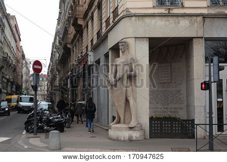 Lyon, France - December 20, 2016: Monument to those who died for the liberation of Lyon during the Second World War. December 20 2016 in Lyon, France