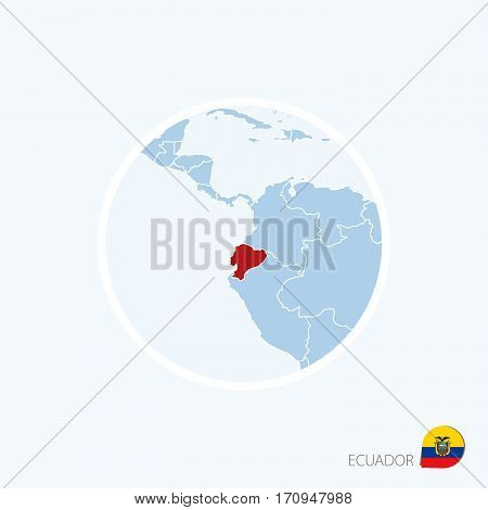 Map Icon Of Ecuador. Blue Map Of Europe With Highlighted Ecuador In Red Color.