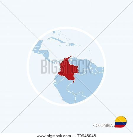 Map Icon Of Colombia. Blue Map Of Europe With Highlighted Colombia In Red Color.