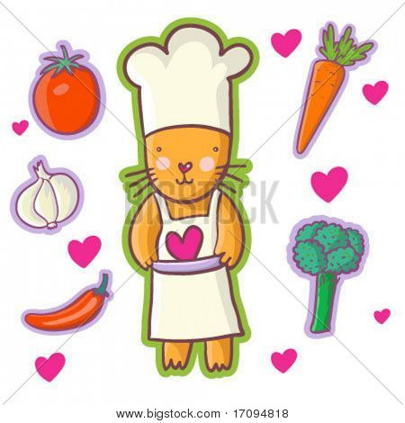 Cat - Chef. Cartoon vector