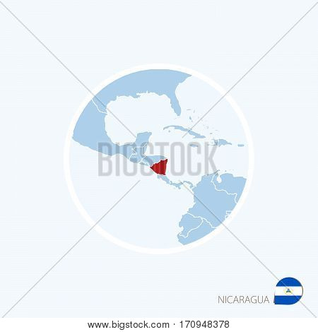 Map Icon Of Nicaragua. Blue Map Of Central America With Highlighted Nicaragua In Red Color.