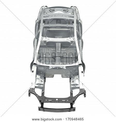 Front view Carcass af a sedan car on white background. 3D illustration