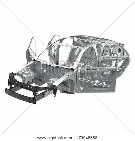 Carcass af a sedan car on white background. Angle from up. 3D illustration