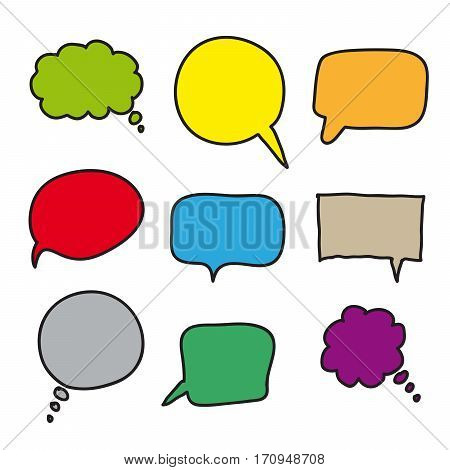 flat colored speech bubbles. hand drawn icons on a white background
