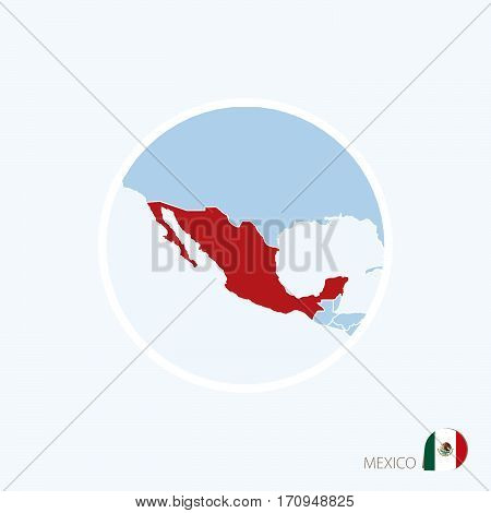 Map Icon Of Mexico. Blue Map Of North America With Highlighted Mexico In Red Color.