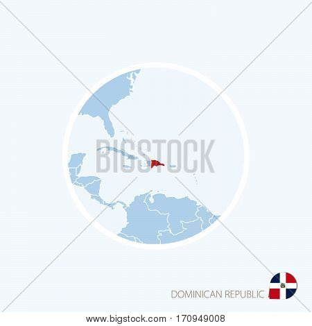 Map Icon Of Dominican Republic. Blue Map Of Caribbean With Highlighted Dominican Republic In Red Col