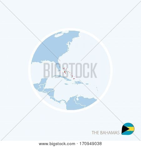 Map Icon Of The Bahamas. Blue Map Of Caribbean With Highlighted The Bahamas In Red Color.