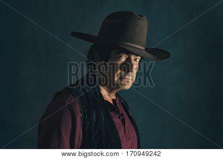 Portrait of a retro 1960s cowboy actor.