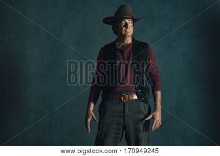 Retro a late 1960s spaghetti western actor.