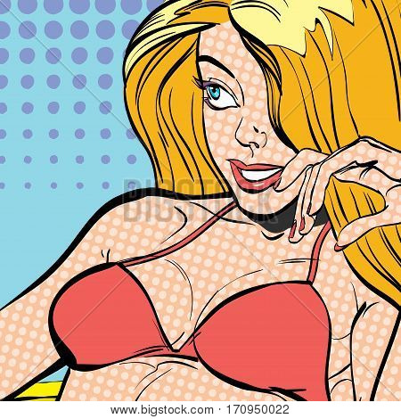 Sexy young lying blonde in a swimming suit. Beautiful young woman. Woman having pleasure. Woman in a dream. Woman in hope. Having pleasure. Concept idea of advertisement. Pop art. Halftone background.