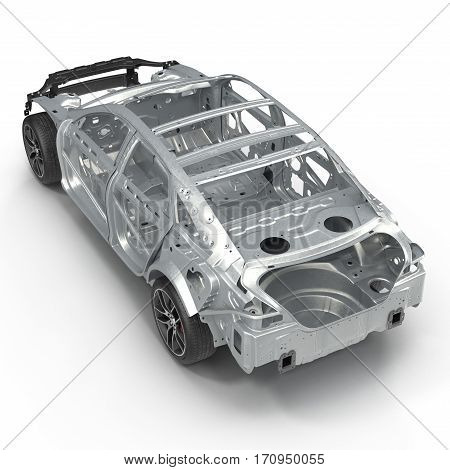 Angle from up Car Frame with Chassis on white background. 3D illustration