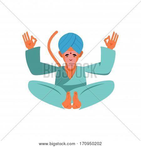 Hanuman Sacred Monkey In India. Animal Yoga. Lotus Pose. Zen And Relaxation.