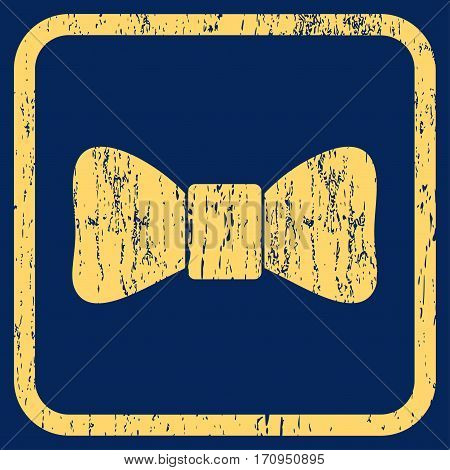 Bow Tie rubber watermark. Vector icon symbol inside rounded rectangular frame with grunge design and dust texture. Stamp seal illustration. Unclean yellow ink sticker on a blue background.