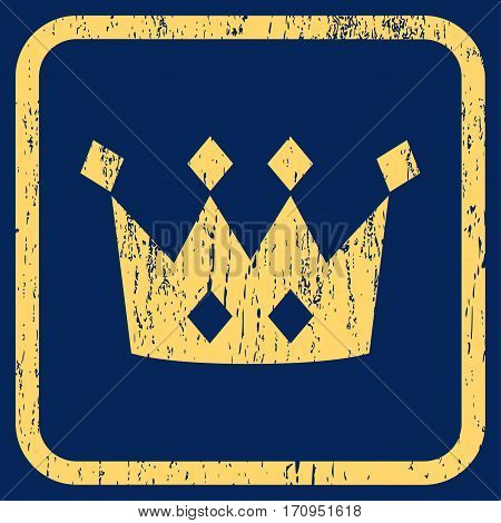Crown rubber watermark. Vector pictogram symbol inside rounded rectangular frame with grunge design and unclean texture. Stamp seal illustration. Unclean yellow ink sign on a blue background.