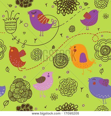 ice spring background - cartoon birds in flowers