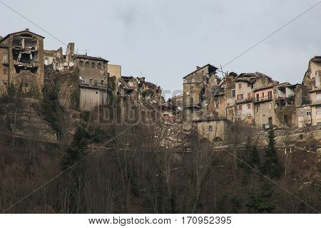 Terrible view of Arquata del Tronto village destroyed by earthquake