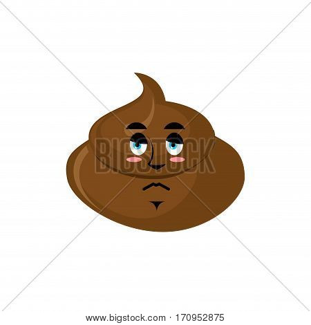 Shit Sad Emoji. Turd Sorrowful Emotion Isolated