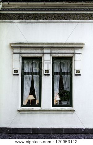 lampshade lit window exterior black home house