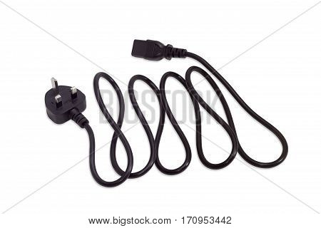 Black power cable with the BS 1363 plug equipped with a fuse and three rectangular pins and the C13 connector on a light background