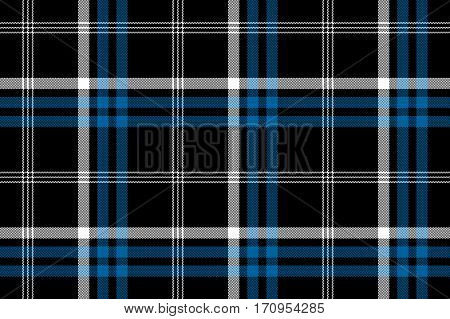 Black check seamless fabric texture background. Vector illustration.