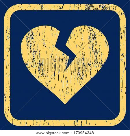 Heart Break rubber watermark. Vector icon symbol inside rounded rectangular frame with grunge design and unclean texture. Stamp seal illustration. Unclean yellow ink sticker on a blue background.