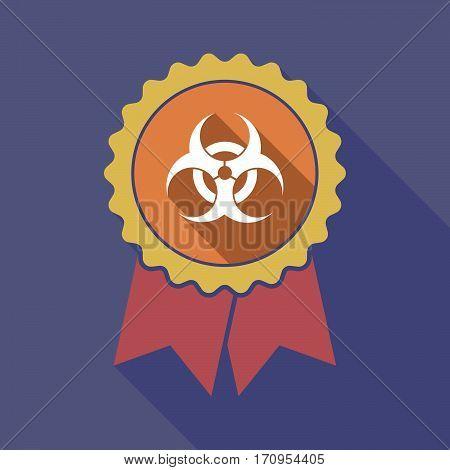 Long Shadow Badge With A Biohazard Sign