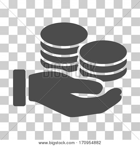 Salary Hand icon. Vector illustration style is flat iconic symbol gray color transparent background. Designed for web and software interfaces.