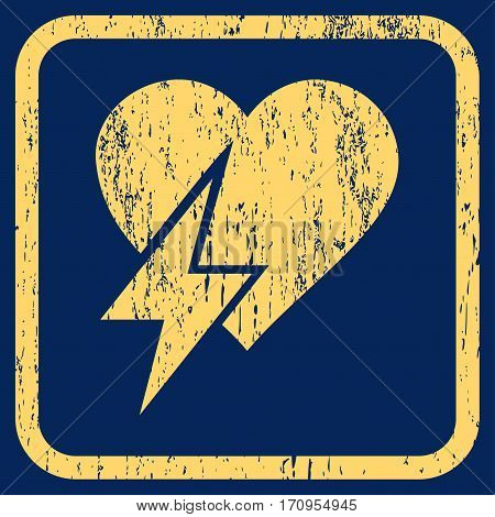 Heart Shock rubber watermark. Vector icon symbol inside rounded rectangular frame with grunge design and dust texture. Stamp seal illustration. Unclean yellow ink sign on a blue background.