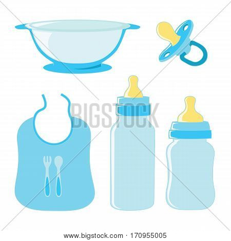 Set of dishes for food and pacifier for boy baby.