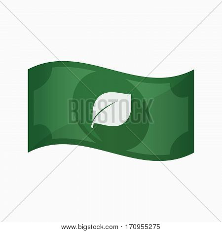 Isolated Bank Note With A Leaf